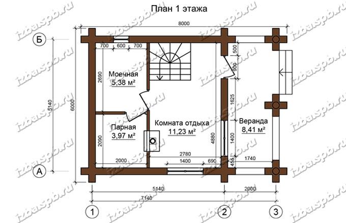 Дом-баня-и-бревна-6х8-план-1-этажа-(проект-Л487)