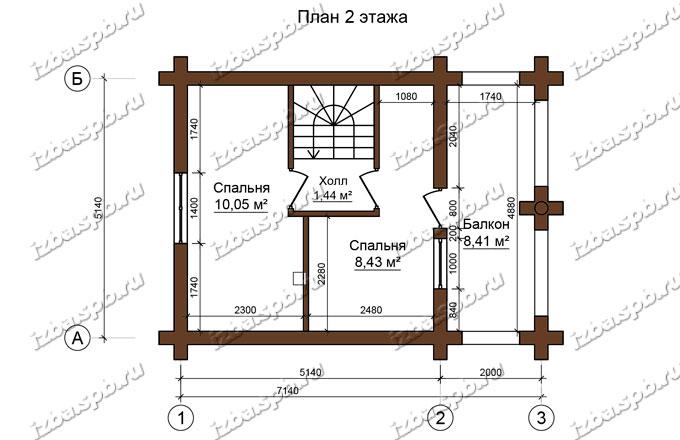 Дом-баня-и-бревна-6х8-план-2-этажа-(проект-Л487)