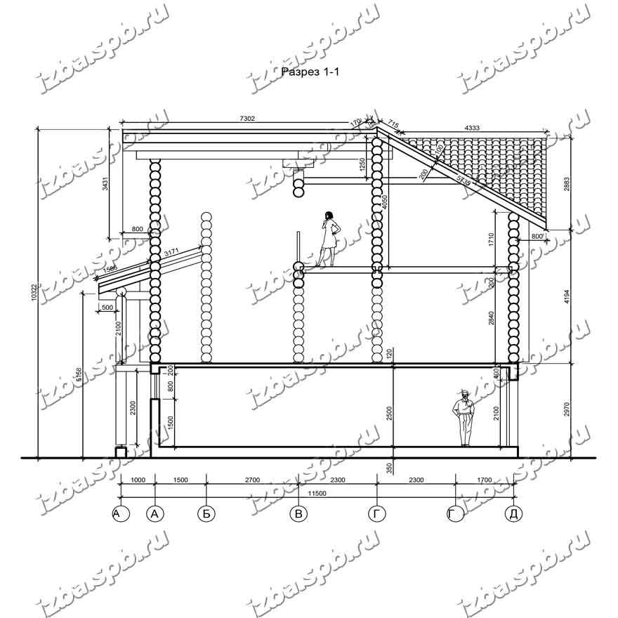 Дом-из-бревна-12х18-разрез-1-(проект-Л593)