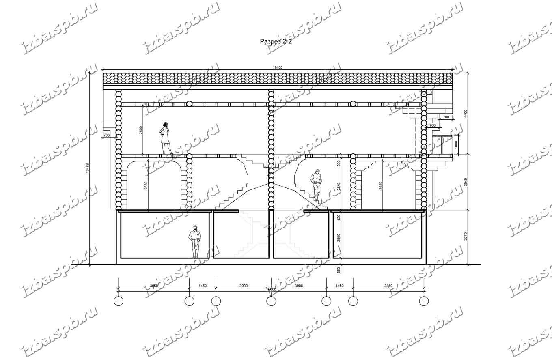 Дом-из-бревна-12х18-разрез-2-(проект-Л593)