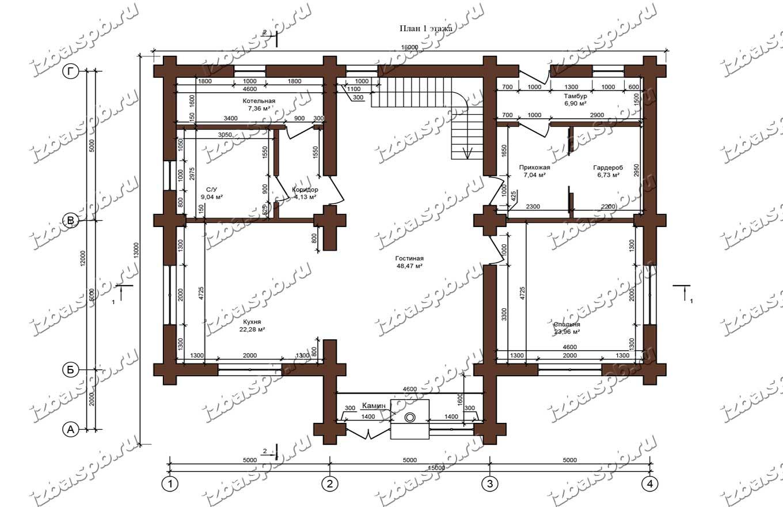 Дом-из-бревна-13х16-план-1-этажа-(проект-Л85)