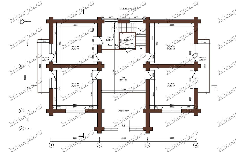 Дом-из-бревна-13х16-план-2-этажа-(проект-Л85)