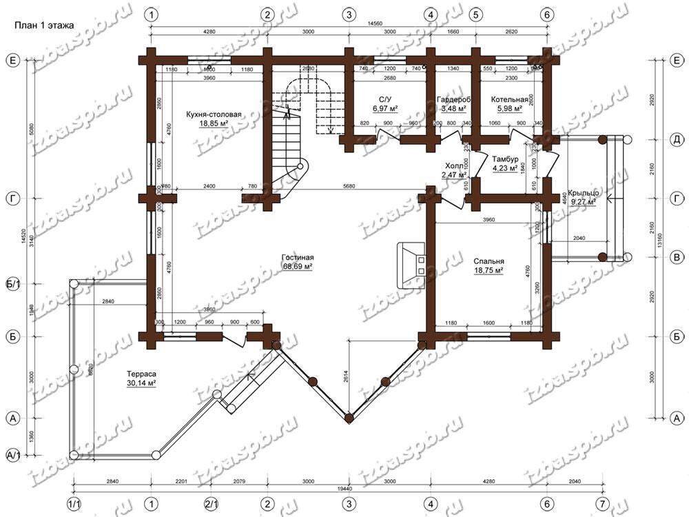 Дом-из-бревна-15х22-план-1-этажа-(проект-Н637-дом)