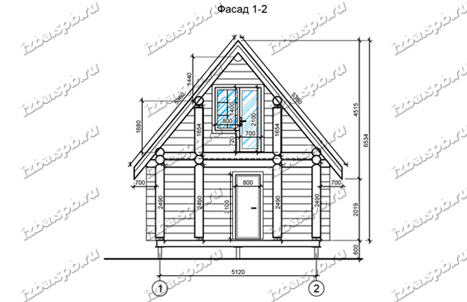Дом из бревна 6х6+2