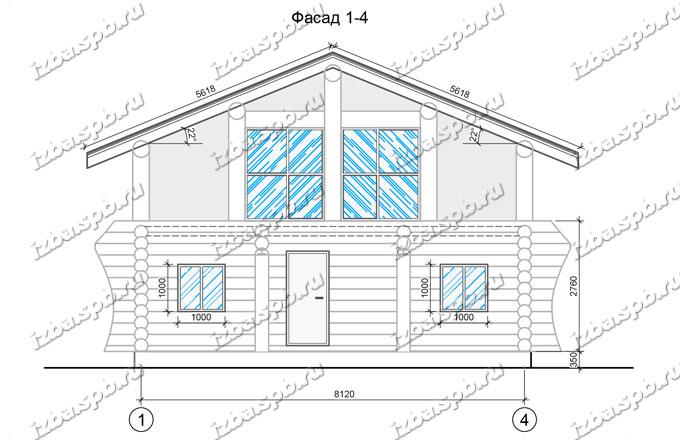 Дом-из-бревна-9х9-вид-2-(проект-938-каркас)