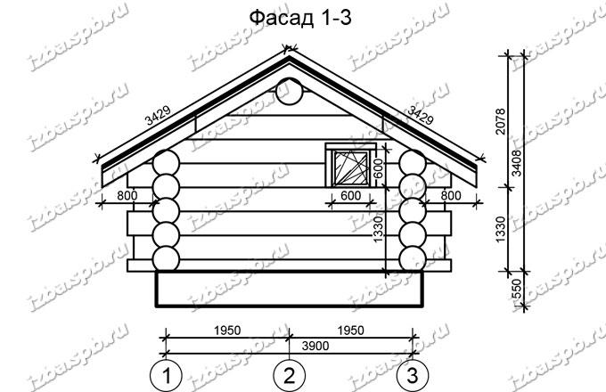 Баня-из-бревна-5х6,-вид-2-(проект-Н116)