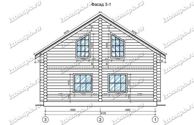 Дом-из-бревна-10х10,-вид-2-(проект-ДНП-3-слобода)