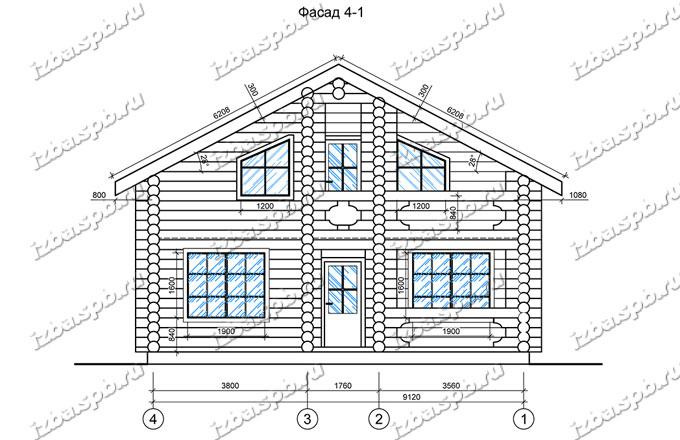 Дом-из-бревна-10х12,-вид-2-(проект-Е006)