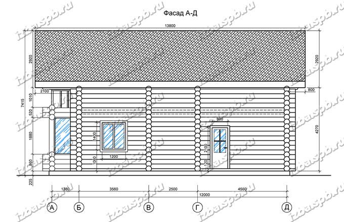 Дом-из-бревна-10х13,-вид-3-(проект-В2-1)