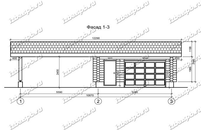 Гараж-из-бревна-6х12,-вид-1-(проект-Н211)