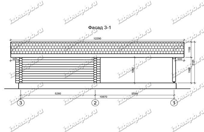 Гараж-из-бревна-6х12,-вид-2-(проект-Н211)