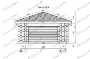 Гараж-из-бревна-8х12,-вид-1-(проект-Н446)