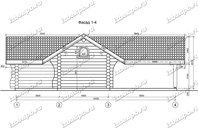 гараж-из-бревна-8х15,-вид-2-(проект-Н637)