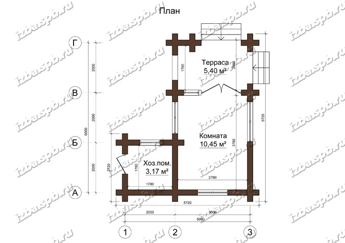 Беседка-из-бревна-6х7,-планировка-(проект-Н2549)