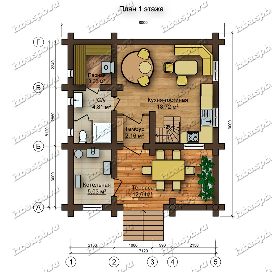 Дом-баня-из-бревна-Северянин,-план-1-этажа