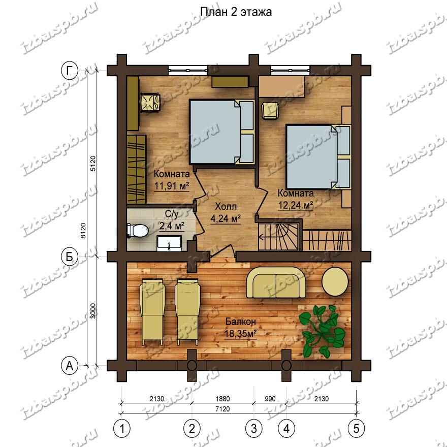 Дом-баня-из-бревна-Северянин,-план-2-этажа