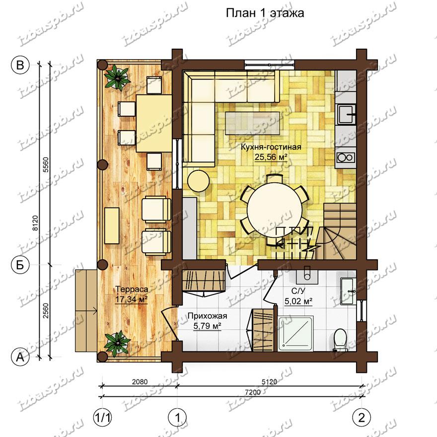 Дом-из-бревна-6х9,-план-1-этажа