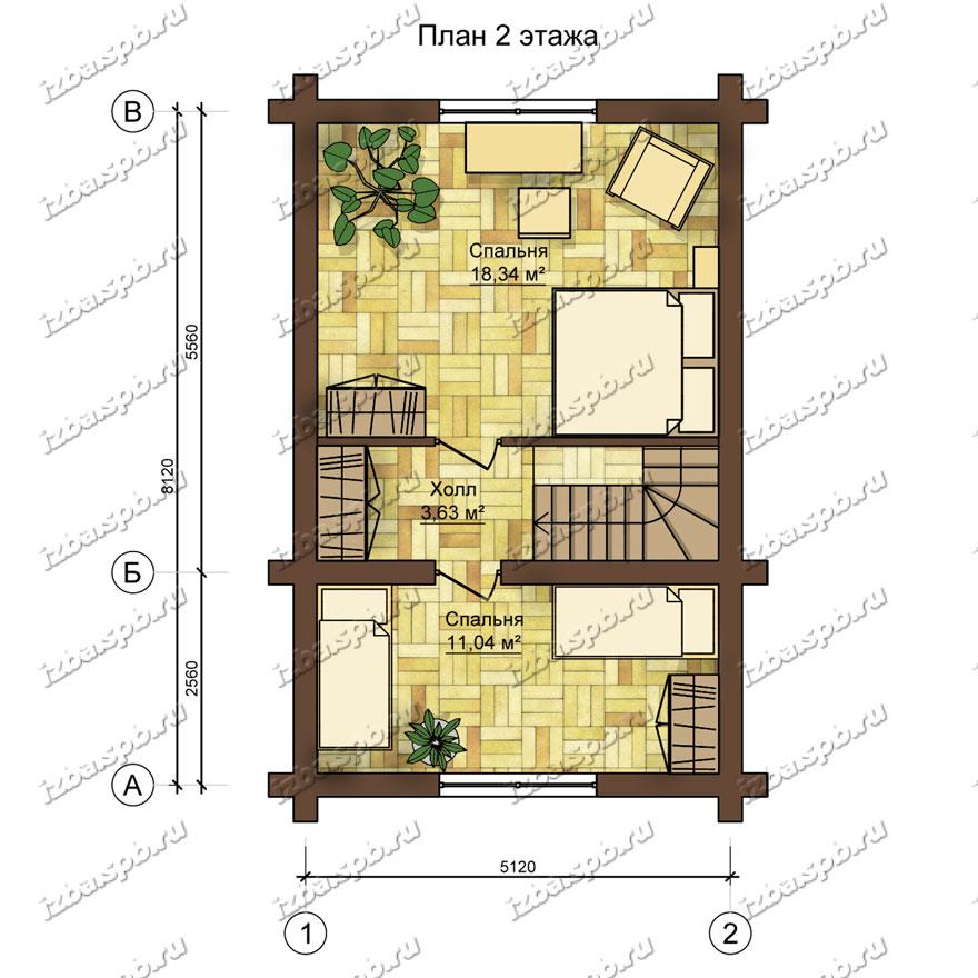 Дом-из-бревна-6х9,-план-2-этажа