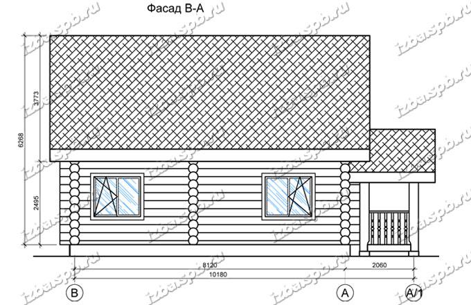 Дом-из-бревна-9х11,-вид-1-(проект-Н2264)