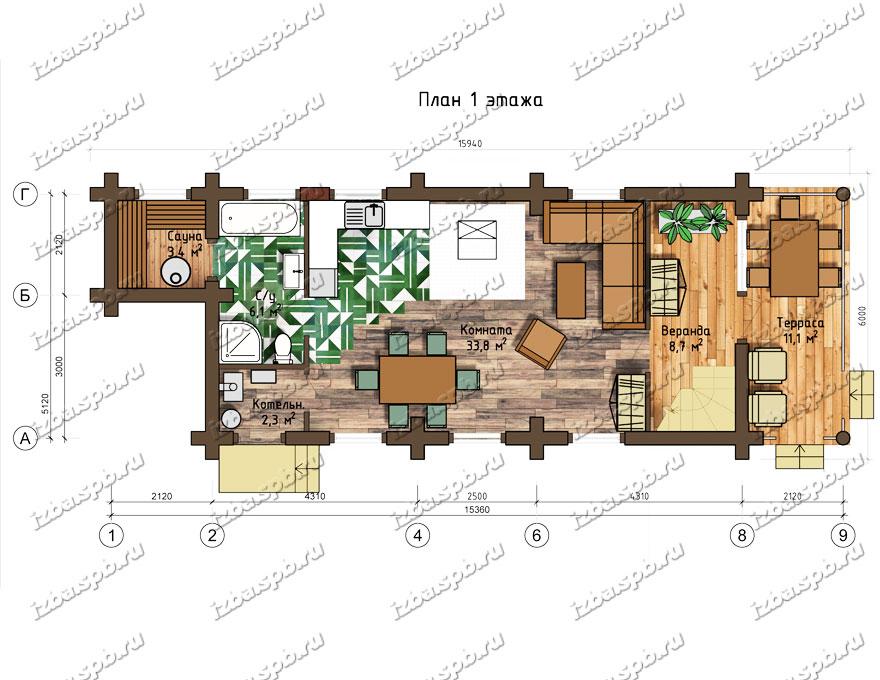 Проект-дома-из-бревна-Глинка,-план-1-этажа