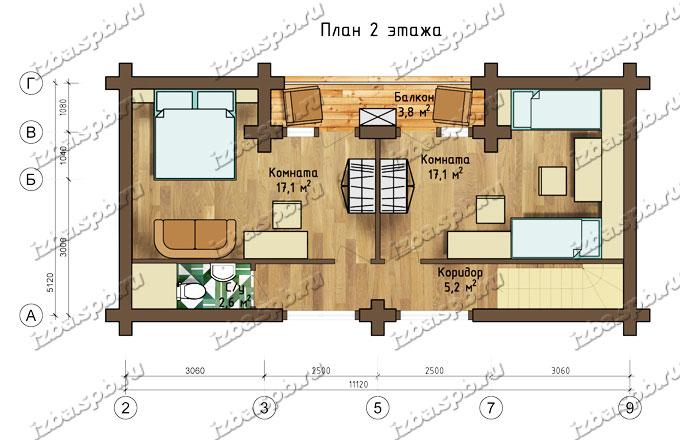 Проект-дома-из-бревна-Глинка,-план-2-этажа