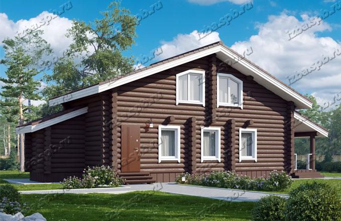 Проект-дома-из-бревна-Глинка,-вид1