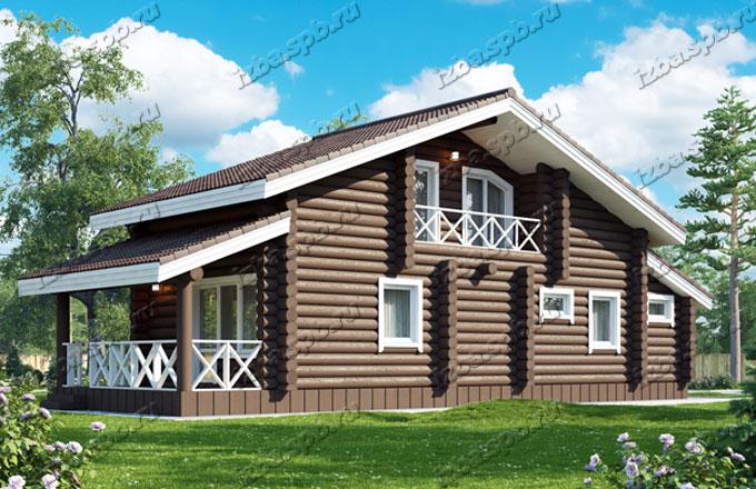 Проект-дома-из-бревна-Глинка,-вид2
