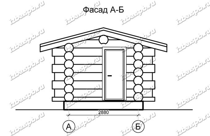 Баня-из-бревна-4х4,-вид-1-(проект-Н2243)