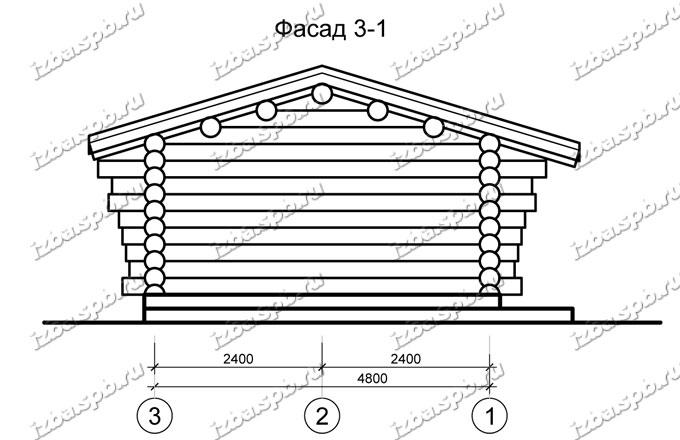 Беседка-из-бревна-6х9,-вид-2-(проект-Н2257)