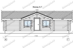 Дом-баня-из-бревна-6х12,-вид1-(проект-Н2233)
