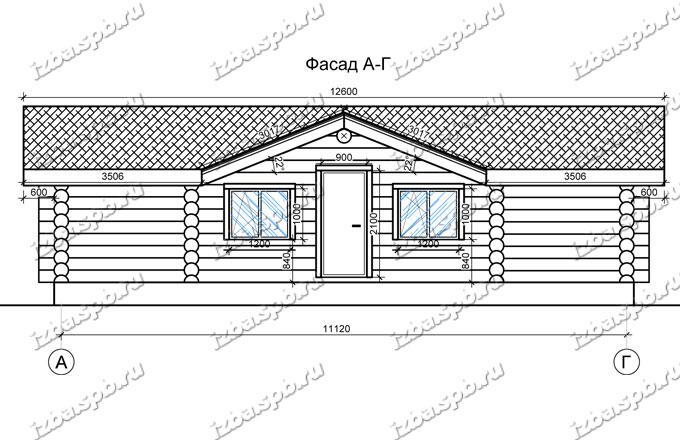 Дом-баня из бревна 6х12