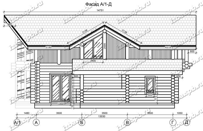 Дом-из-бревна-13х14,-вид-3-(проект-Н2215)