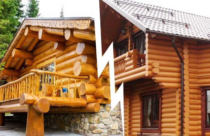 Дом из оцилиндрованного бревна или бревна ручной рубки: что лучше?