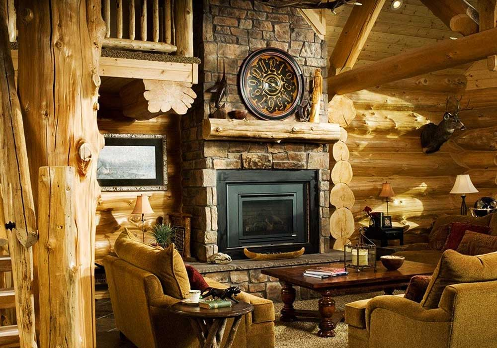 Камин-в-деревянном-доме