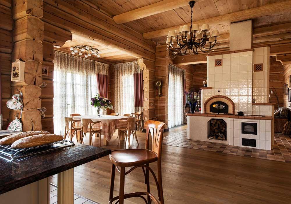 Печь-камин-в-деревянном-доме