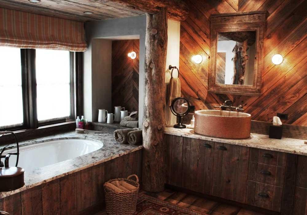 рустикальный стиль для ванной комнаты