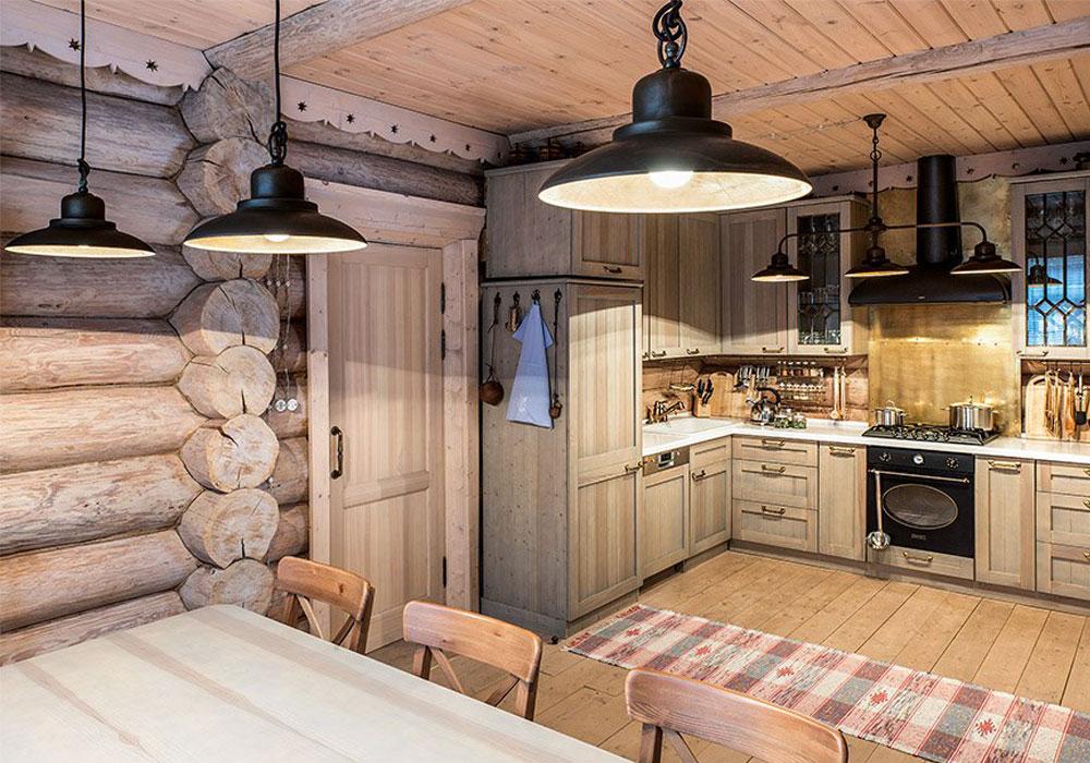 освещение кухни в доме ручной рубки