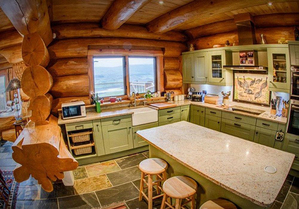 Кухня гостиная в бревенчатом доме