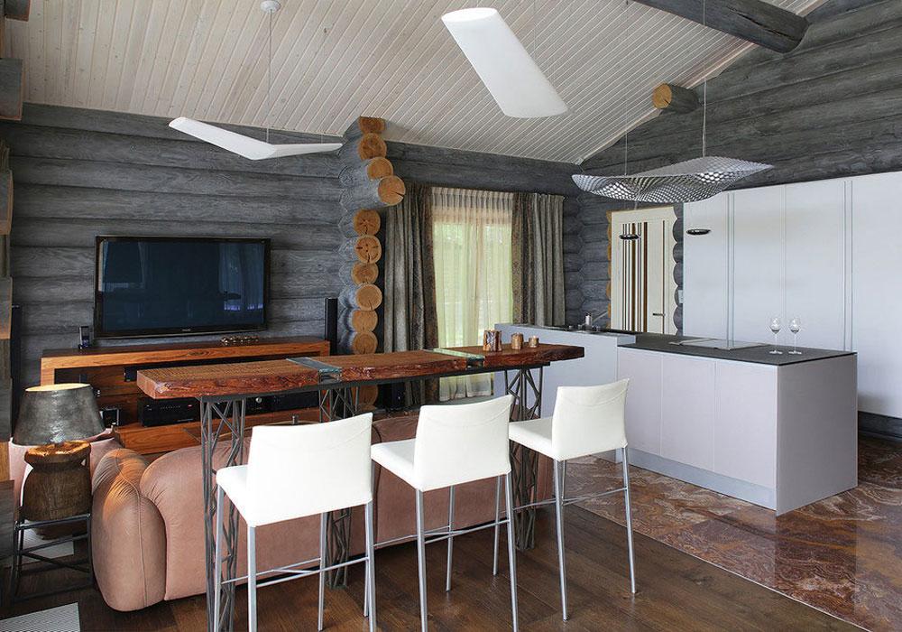 Кухня гостиная в деревянном доме