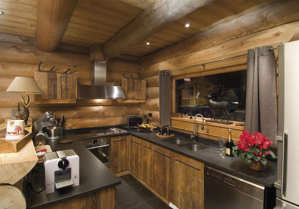 Кухня гостиная в рубленном доме