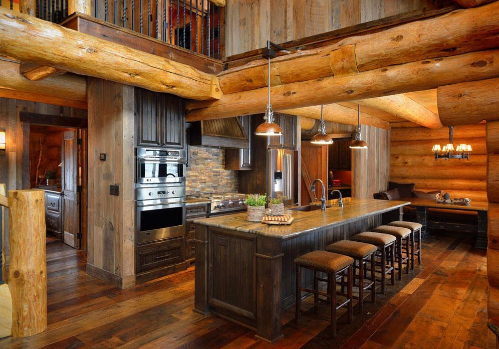 Кухня в доме из бревна