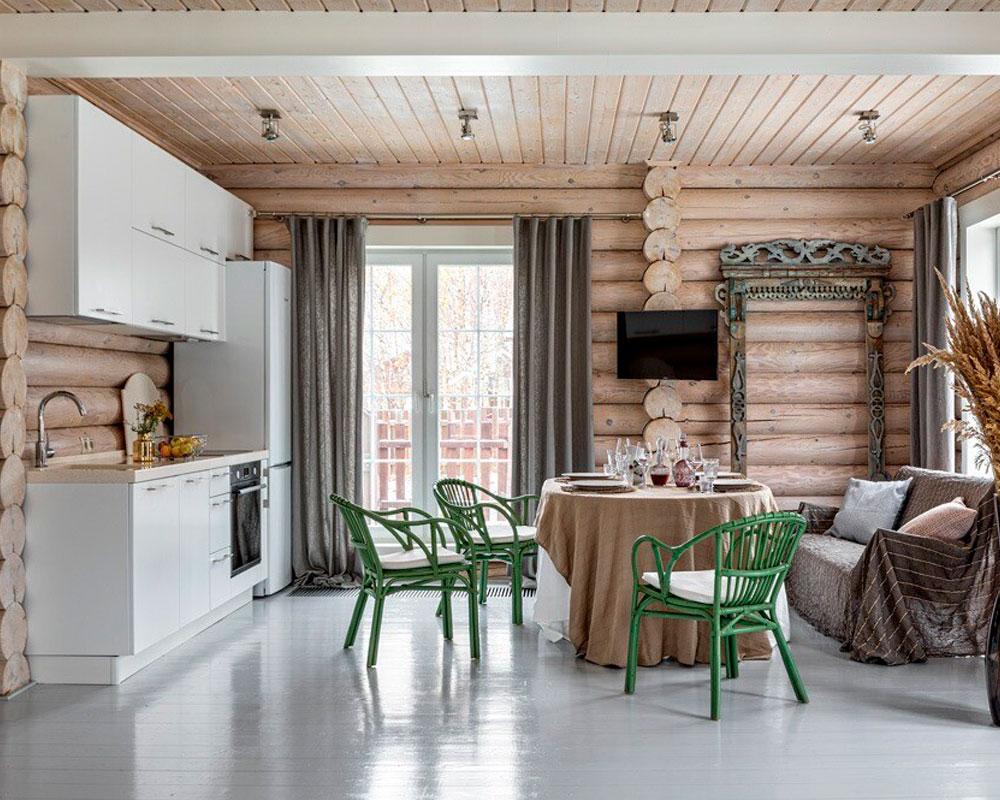Кухня-в-деревянном-доме