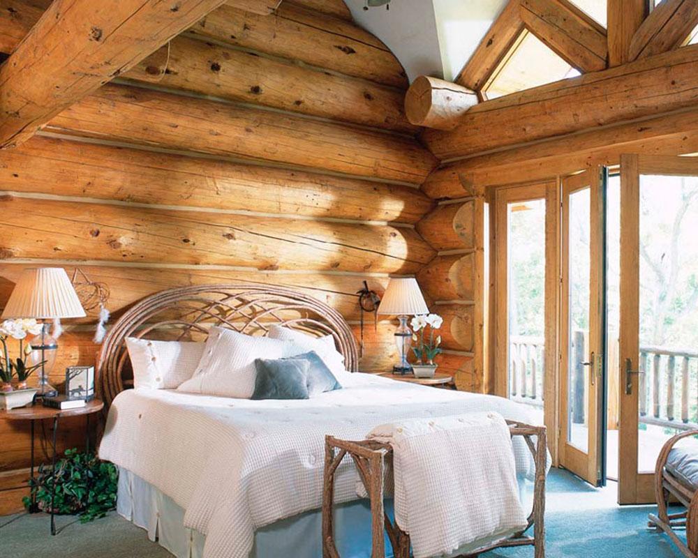 Спальня-в-бревенчатом-доме